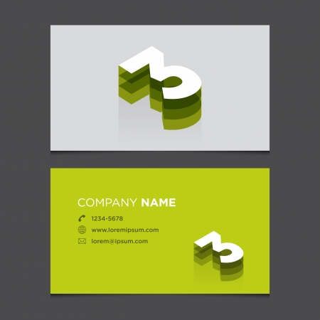 Business card with alphabet number 3  Vector template editable  Vintage design   Vector