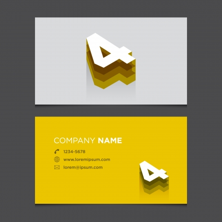 Business card with alphabet number 4  Vector template editable  Vintage design   Vector