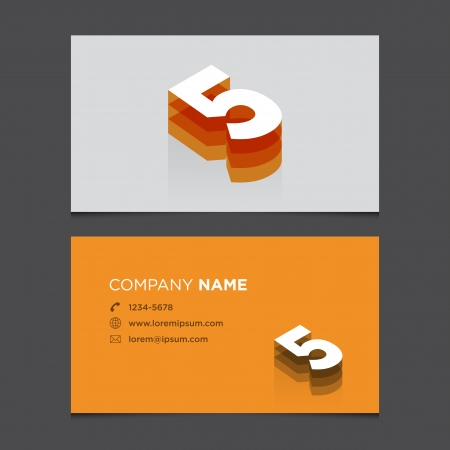 Business card with alphabet number 5  Vector template editable  Vintage design   Vector