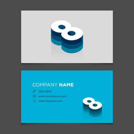 Business card with alphabet number 8  Vector template editable  Vintage design   Vector