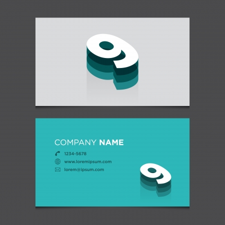 Business card with alphabet number 9  Vector template editable  Vintage design   Vector