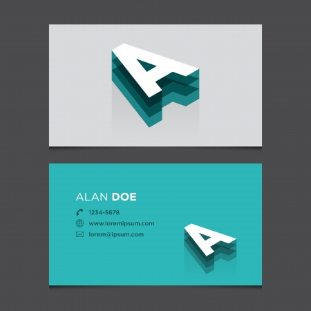 c r t: Business card with alphabet letter A  Vector template editable  Vintage design