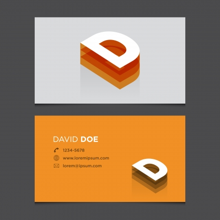 carta: Tarjeta de visita con la letra del alfabeto D Vector plantilla editable Diseño de la vendimia