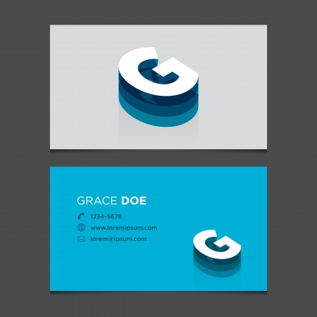 c r t: Business card with alphabet letter G  Vector template editable  Vintage design