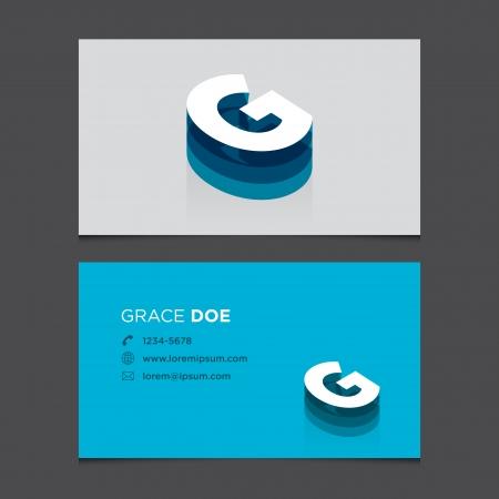 Business card with alphabet letter G  Vector template editable  Vintage design