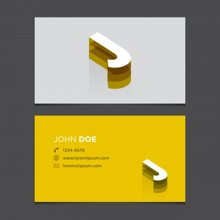 j: Business card with alphabet letter J  Vector template editable  Vintage design