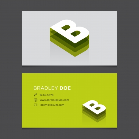 c r t: Business card with alphabet letter B  Vector template editable  Vintage design   Illustration