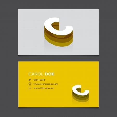 Business card with alphabet letter C  Vector template editable  Vintage design   Vector