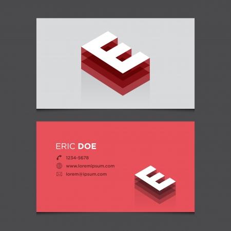 e card: Business card with alphabet letter E  Vector template editable  Vintage design  Illustration