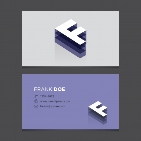 letter f: Business card with alphabet letter F  Vector template editable  Vintage design