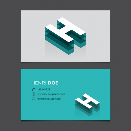 letter h: Business card with alphabet letter H  Vector template editable  Vintage design