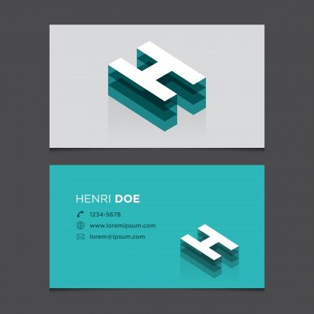 letter h: Business card with alphabet letter H  Vector template editable  Vintage design
