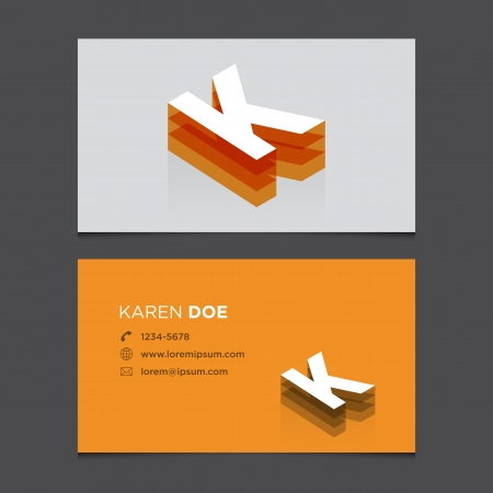 letter k: Business card with alphabet letter K  Vector template editable  Vintage design   Illustration