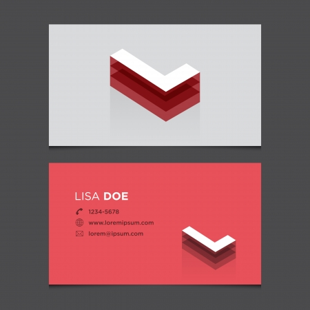 L: Business card with alphabet letter L  Vector template editable  Vintage design