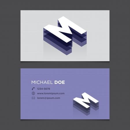 Business card with alphabet letter M  Vector template editable  Vintage design   向量圖像