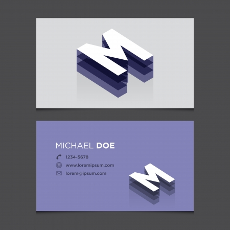 letter m: Business card with alphabet letter M  Vector template editable  Vintage design   Illustration