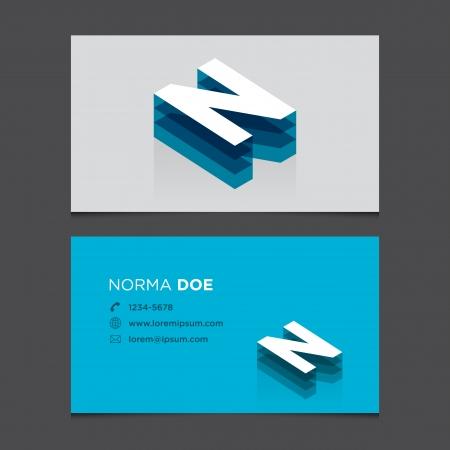 N: Business card with alphabet letter N  Vector template editable  Vintage design   Illustration