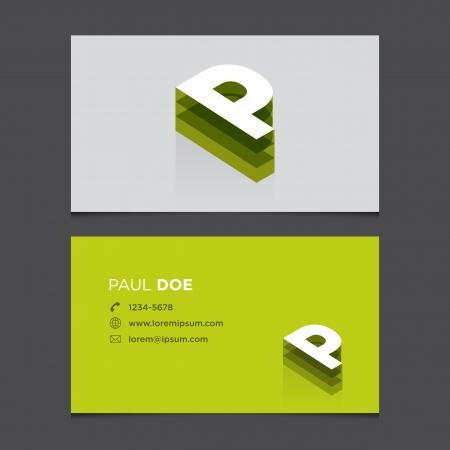 Business card with alphabet letter P  Vector template editable  Vintage design