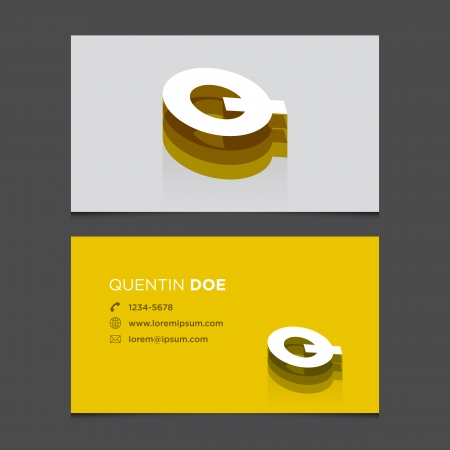 Business card with alphabet letter Q  Vector template editable  Vintage design   Vector