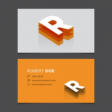 c r t: Business card with alphabet letter R  Vector template editable  Vintage design   Illustration