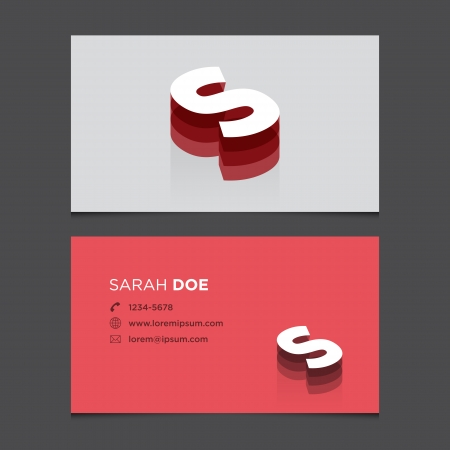 c r t: Business card with alphabet letter S  Vector template editable  Vintage design