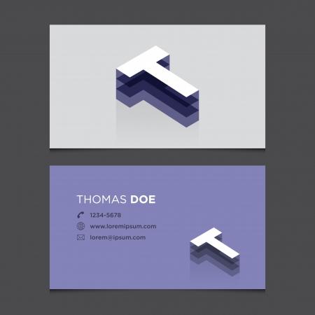 Business card with alphabet letter T  Vector template editable  Vintage design   Illustration