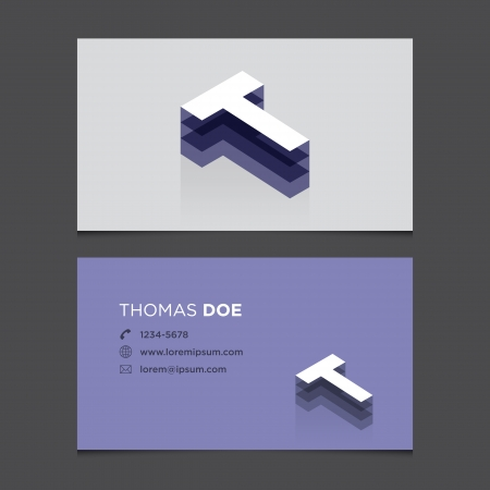 c r t: Business card with alphabet letter T  Vector template editable  Vintage design   Illustration