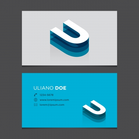business card: Business card with alphabet letter U  Vector template editable  Vintage design