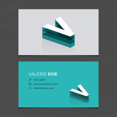 c r t: Business card with alphabet letter V  Vector template editable  Vintage design