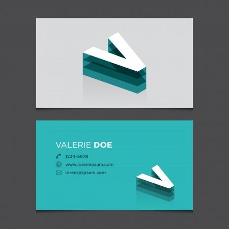 letter v: Business card with alphabet letter V  Vector template editable  Vintage design