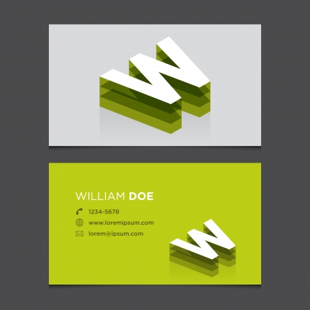 letter w: Business card with alphabet letter W  Vector template editable  Vintage design