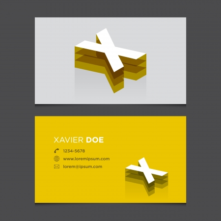 c r t: Business card with alphabet letter X  Vector template editable  Vintage design