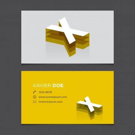 visitekaartje: Visitekaartje met alfabet letter X Vector sjabloon bewerkbare Vintage design Stock Illustratie