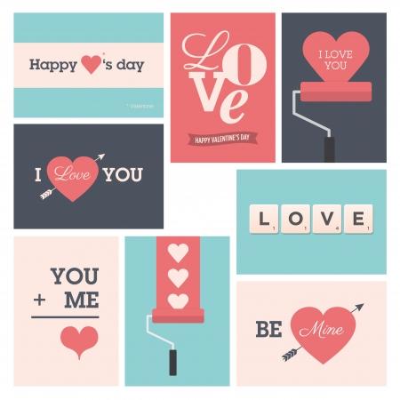 hintergrund liebe: Set Valentinsgru�-Karten, ich liebe dich, Happy Valentine s Day Illustration
