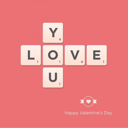 Valentine s day card  Letter alphabet  Vector design editable
