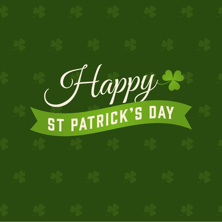 Happy Saint Patricks day card, clover vector background
