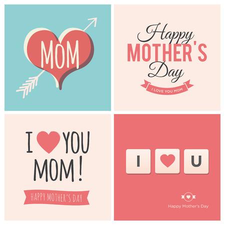 te amo: Tarjetas del d�a de madres feliz Vectores