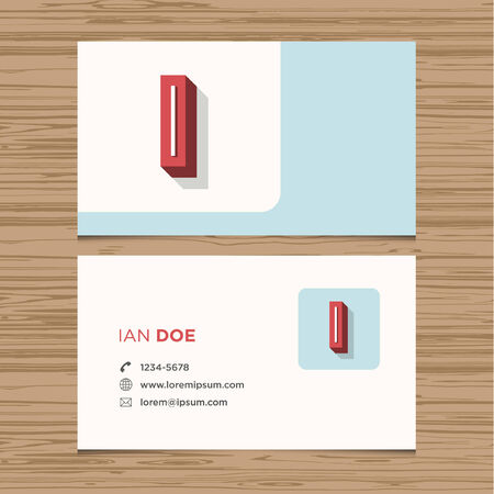 Business card with alphabet letter I  Vector template editable  Vintage design  Vector