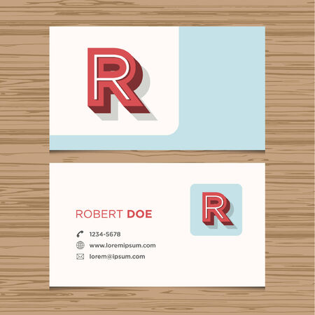 Business card with alphabet letter R  Vector template editable  Vintage design  Vector