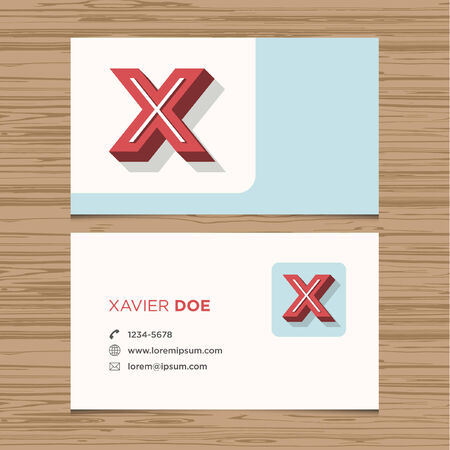 Business card with alphabet letter X  Vector template editable  Vintage design  Vector