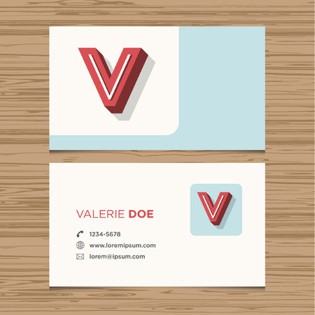Business card with alphabet letter V  Vector template editable  Vintage design  Vector