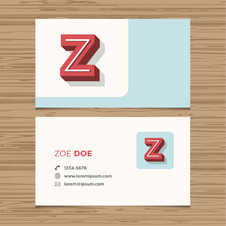 Business card with alphabet letter Z  Vector template editable  Vintage design  Vector