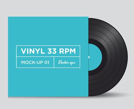 Vinyl record 33 RPM mock up Vector
