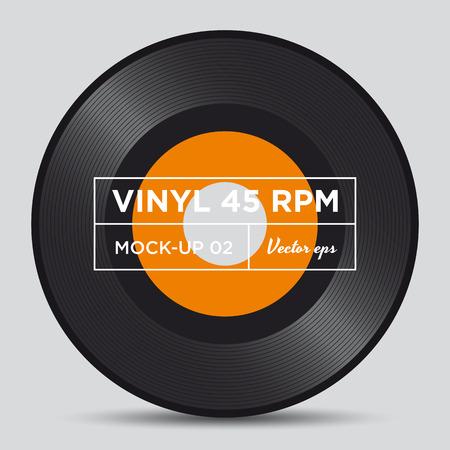 Vinyl record 45 RPM mock up 向量圖像