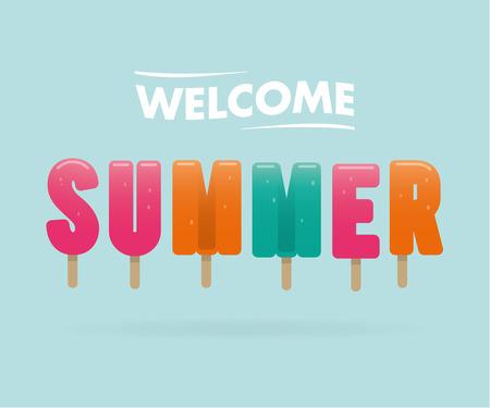 ようこそ夏、アイスクリームの文字  イラスト・ベクター素材