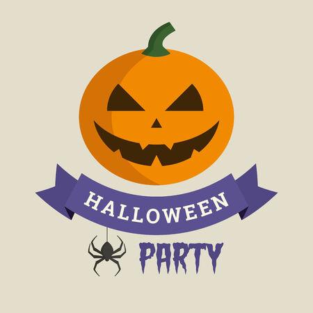 Halloween party, pumkin and spider illustration vector Vector