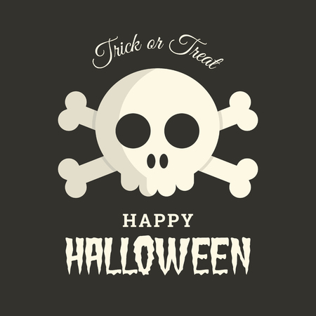 Halloween card, skull illustration vector Vector