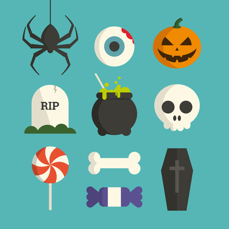 Halloween symbol illustration set vector