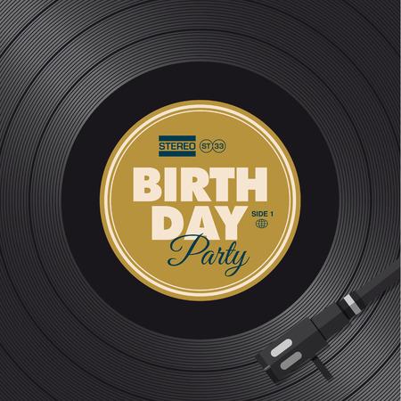 Uitnodigingskaart van de verjaardagspartij Vinyl illustratie achtergrond, vector ontwerp bewerkbare
