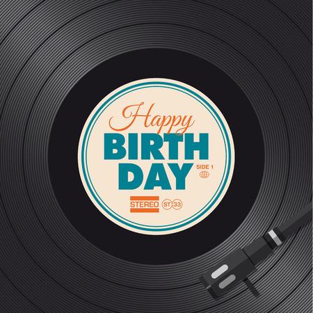 Tarjeta de feliz cumpleaños ilustración Vinilo fondo, diseño vectorial editable